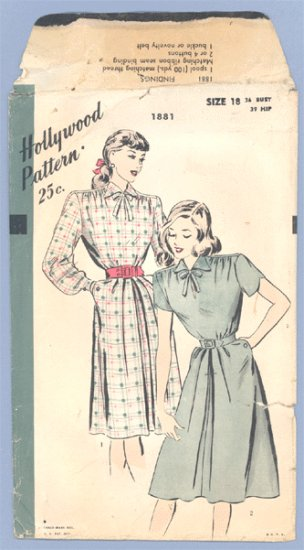 Vintage PATTERN Sewing HOLLYWOOD 1881 1940s 36B