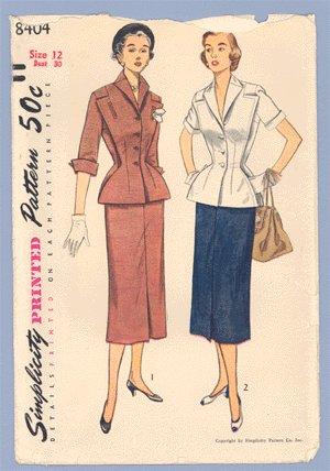 Vintage 1951 PATTERN SIMPLICITY 8404 Skirt Suit UNCUT 30b
