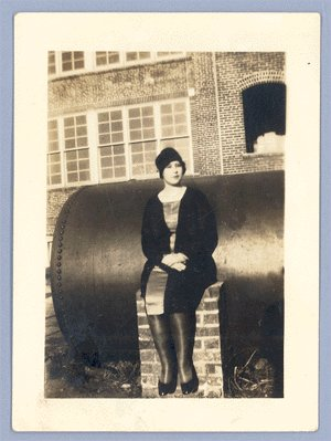 Vintage Photo 1920s/1930s WOMAN SITTING BY FUEL TANK