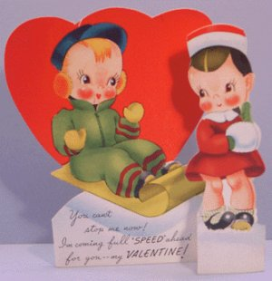 Vintage Valentine STAND-UP Sled SNOW Full Speed 1940s
