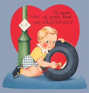 Vintage Valentine 1940s I'll Never Tire A-MERI-CARD