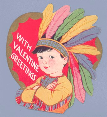 Vintage Valentine FEATHER HEADDRESS Indian EMBOSSED 1940s