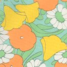 Vintage Fabric PSYCHEDELIC FLORAL Yellow/Orange/Green