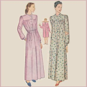Vintage Pattern SIMPLICITY 1402 NIGHTGOWN 32b 1945 NIGHTIE