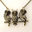 Vintage Inspired Three Owls Necklace