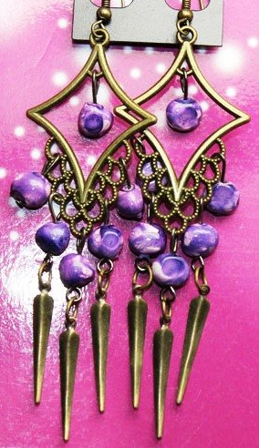 Gorgeous Vintage Inspired Bronze Chandelier Earrings with Purple Stones