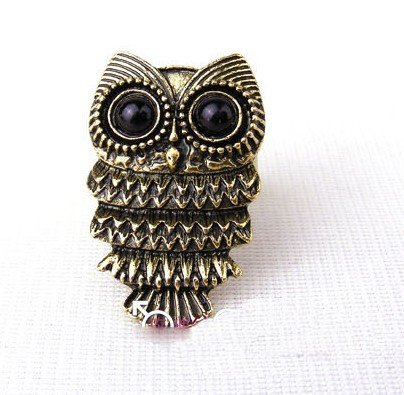 Vintage Inspired Bronze Owl Ring