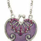 Vintage Heart Locket Necklace - Amethyst Austrian Crystal