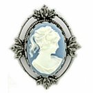 Antique Silver Plated Blue Cameo Pin Women's Jewelry