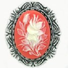 Antique Silver Plated Pink Cameo Flowers Pin Women's Jewelry
