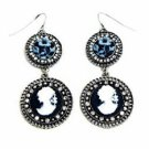 Vintage Filigree Cameo Drop Earrings - Antique Silver Plated  Women's Jewelry