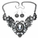 Vintage Filigree Cameo Fashion Necklace Set - Antique Silver Plated Women's Jewelry