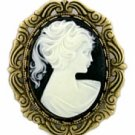 Antique Style Jet Cameo Pin Women's Jewelry
