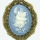 Cameo Brooch - Victorian Style Blue Cameo Flowers Women's Jewelry