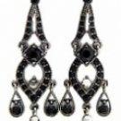 Vintage Chandelier Earrings - Jet Austrian Crystal Women's Jewelry