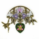 ctorian Jewelry Charm Pin- Vintage Hand Painted Brooch Women's Jewelry