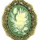 Victorian Style Green Cameo Flowers Pin Women's Jewelry