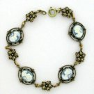 Cameo Bracelet - Vintage Style Antique Blue Cameo Women's Jewelry