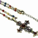 Vintage Cross Necklace - Multi Jewel Tone Austrian Crystal Women's Men's Jewelry
