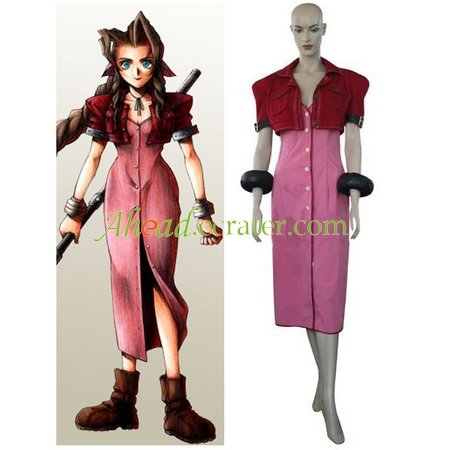 Kingdom Hearts Final Fantasy VII Aerith Halloween Cosplay Costume