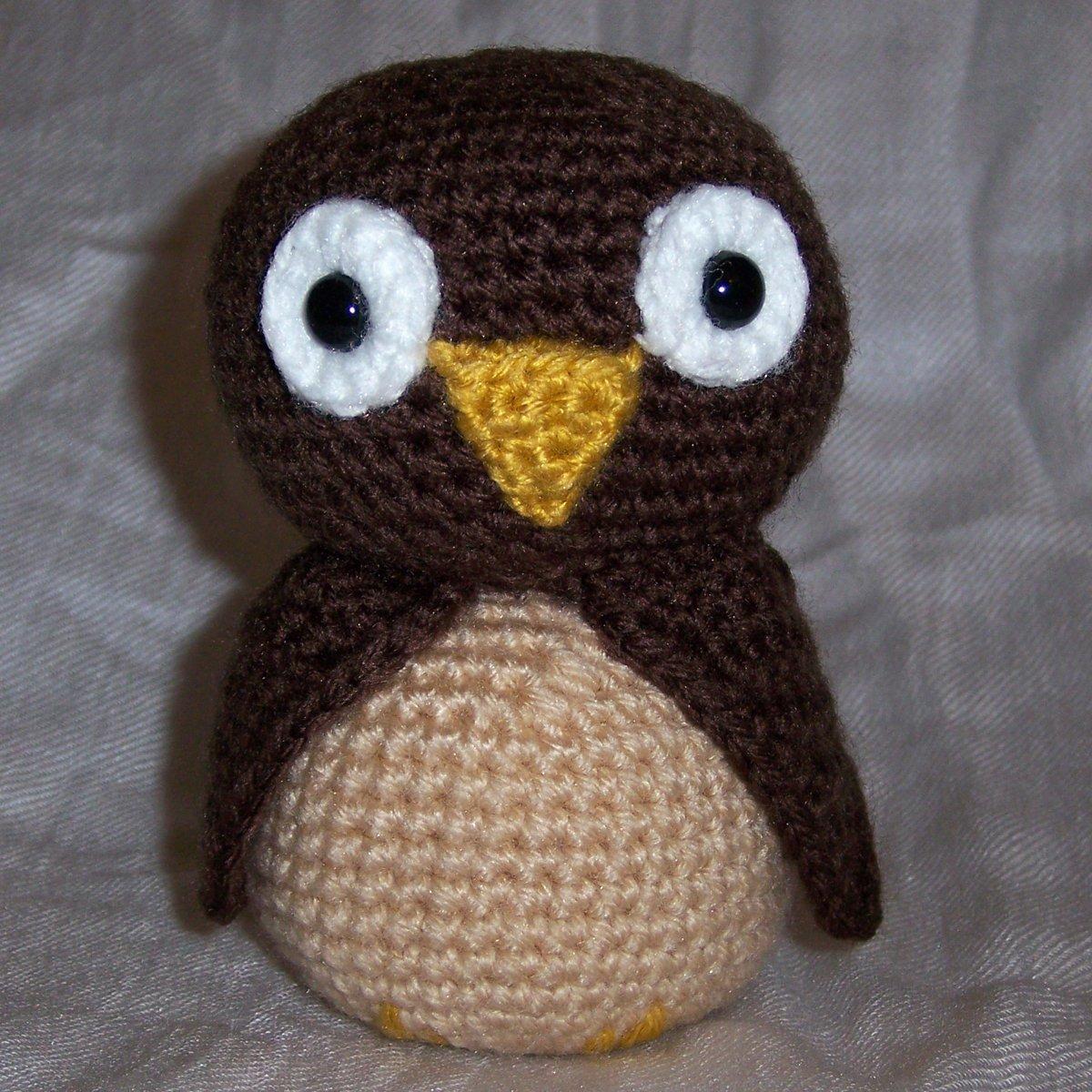 amigurumi OWL - brown - cute crochet stuffed toy animal