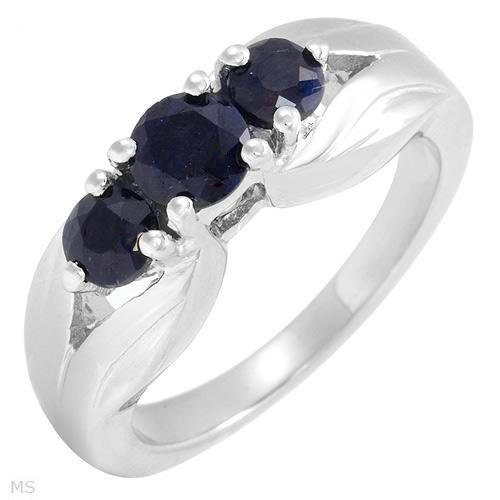 Three-Stone Blue Sapphire Silver Ring Size 7 Ladies