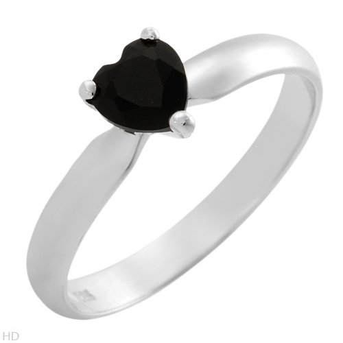Black Onyx Heart Sterling Silver Ring Ladies Size 7