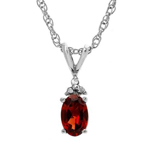 Diamond & Garnet Sterling Silver Necklace 18inches Ladies