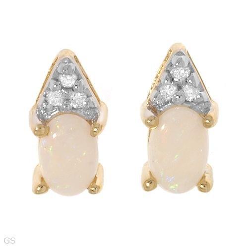 10k Yellow Gold Diamond Opal Post/Stud Earrings