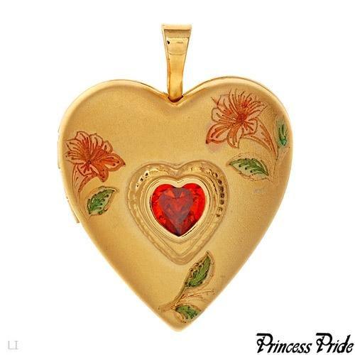 PRINCESS PRIDE Heart Pendant/Locket CZ Stone No Chain