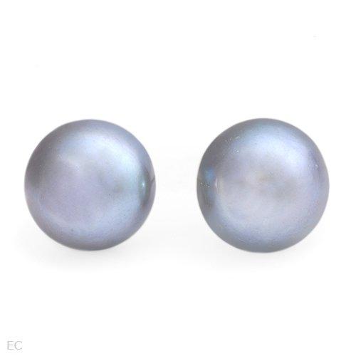 10mm Gray Pearl 925 SS Post/Stud Earrings