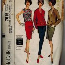 McCall's 7615 60s Pan Am SLIM SKIRT & Double Breasted Jacket Sleeveless Top Vintage Sewing Pattern