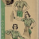 "Hollywood 1573 1930s BLOUSES Shirtwaist & Tuck In VTG Sewing Pattern ""Rochelle Hudson"" *UNCUT*"