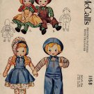McCall's 1158 Vintage 1940s Sue & Sam Stuffed Dolls Sewing Pattern