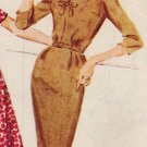 McCall's 5707 60s Half Size V-NECK DRESS w/ Slim or Full Skirt, Vintage Sewing Pattern