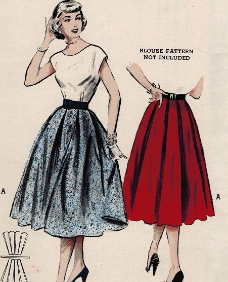 Butterick 6004 50s Retro Four-Gore Circle SKIRT box pleated, Vintage Sewing Pattern