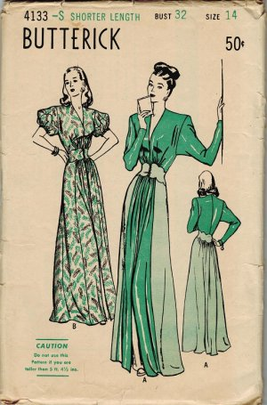 Butterick 4133 40s HOSTESS GOWN with Scalloped Midriff Vintage Sewing Pattern