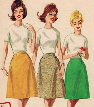 """Butterick 2779 Vintage 60s UNCUT """"Cone"""" shaped SKIRT in Proportioned Lengths Sewing Pattern"""