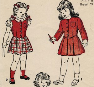 Advance 4701 40s Girls' JACKET, VEST, BLOUSE & SUSPENDER SKIRT Vintage Childrens Pattern