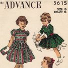 Advance 5615 40s Adorable Puff Sleeve Girl's DRESS Vintage Sewing Pattern