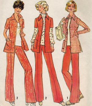 Simplicity 6805 70s Half Size SHIRT-JACKET & PANTS Vintage Sewing Pattern