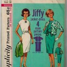 Simplicity 4897 Early 60s DRESS & JACKET Kimono Sleeves Original Vintage Sewing Pattern Pan Am Era