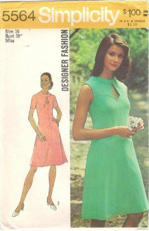 """Simplicity 5564 70s Uncut """"Designer Fashion"""" Keyhole DRESS Vintage Sewing Pattern * UNCUT & FF"""