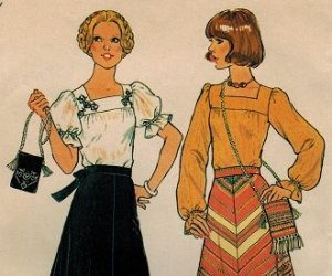 Simplicity 7477 70s *UNCUT Peasant BLOUSE, SKIRT & BAG Vintage Sewing Pattern