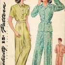 Simplicity 1078 Vintage 40s Uncut Classic PAJAMAS Sewing Pattern