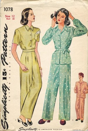 Simplicity 1078 Vintage 40s Uncut Classic PAJAMAS Sewing Pattern