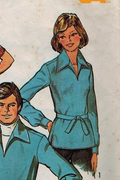 Simplicity 6436 1970s Pullover SHIRT Vintage Sewing Pattern