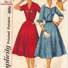 Simplicity 3182 50s UNCUT Smashing Half Size DRESS Vintage Sewing Pattern