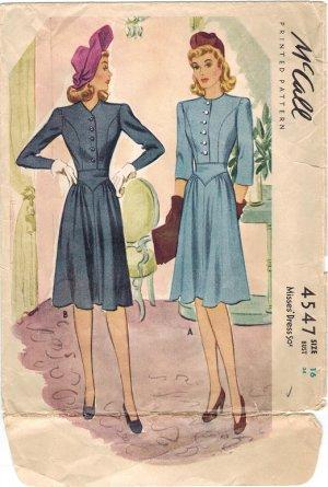 McCall 4547 40s Lovely Yoke Waist DRESS Vintage Sewing Pattern