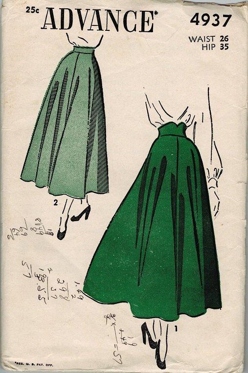 advance 4937 40s high waist flared skirt vintage sewing